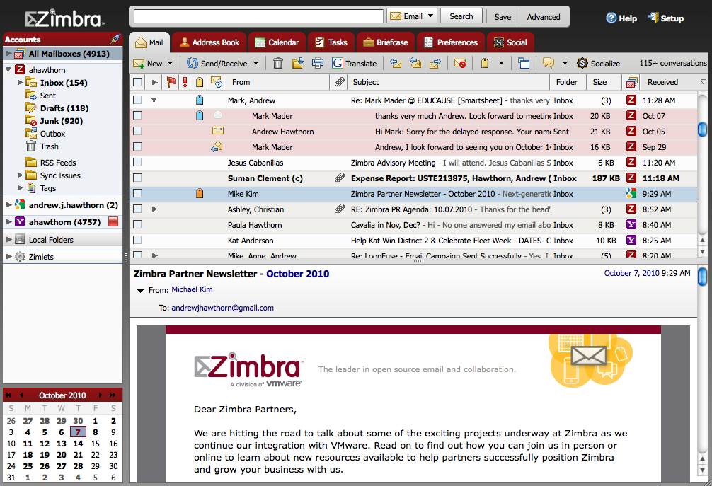 Zimbra is an enterprise-class email, calendar and collaboration solution built for the cloud, both public and private