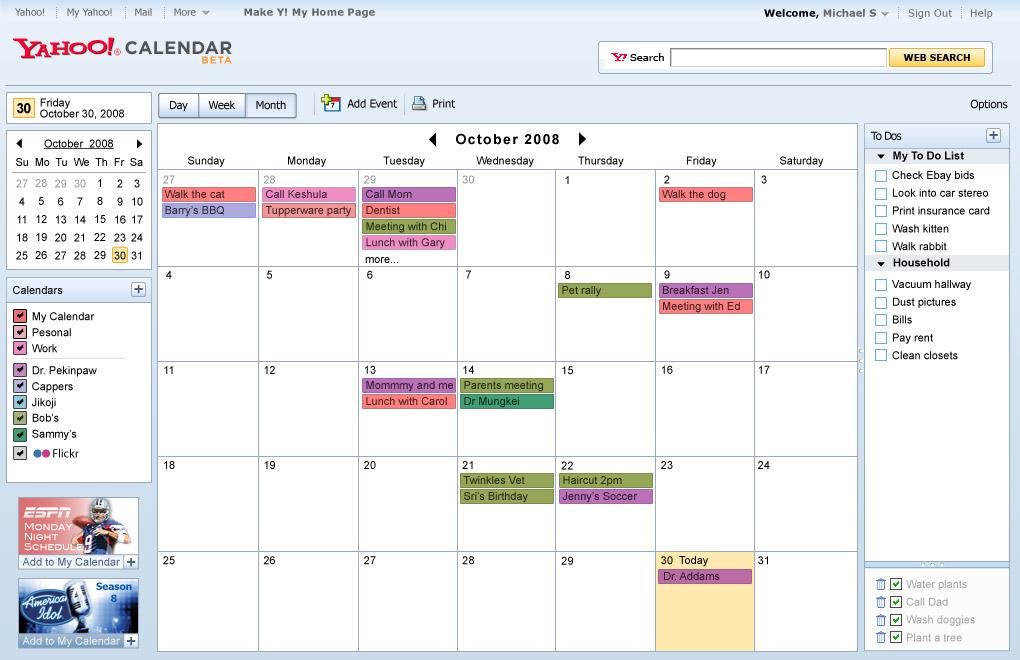 powering the new yahoo calendar