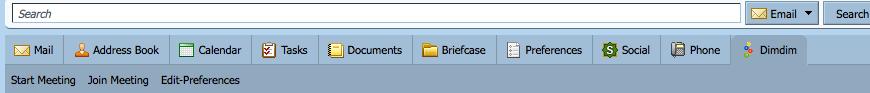 Zimbra application toolbar