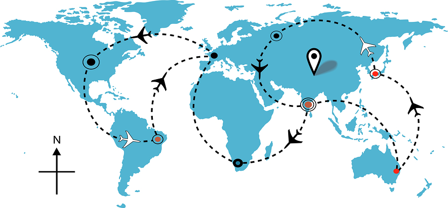 Airline Plane Flight Travel Plans Connections Map